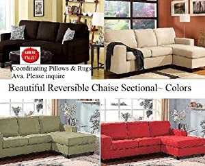 Microfiber Reversible Chaise Sectional Sofa Multiple Colors (rugs and pillows also ava.) : microfiber reversible chaise sectional sofa - Sectionals, Sofas & Couches
