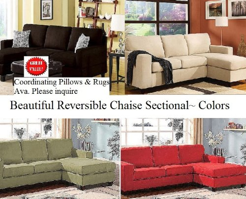 Microfiber Reversible Chaise Sectional Sofa, Multiple Colors (rugs and pillows also ava.)