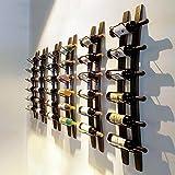 Wine Rack Barrel Stave Hanging Wine Rack Handcarved 6 Bottle Barrel Stave Wooden Wall Mounted Wine Rack Wine bottle holder (Browm, 36'' X 8'' X 5'')