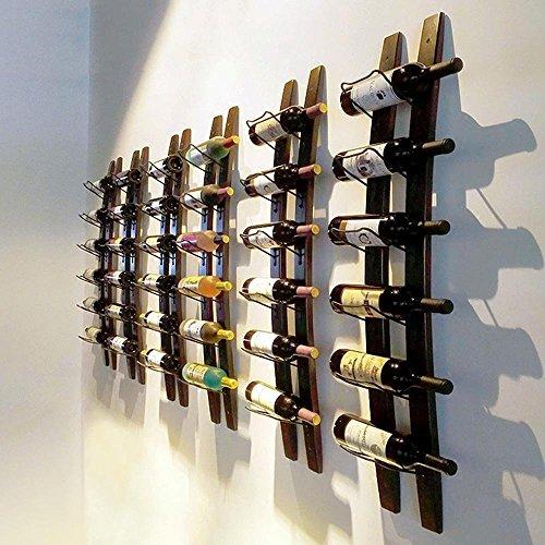 Wine Rack Barrel Stave Hanging Wine Rack Handcarved 6 Bottle Barrel Stave Wooden Wall Mounted Wine Rack Wine bottle holder (Browm, 36'' X 8'' X 5'') by Linex