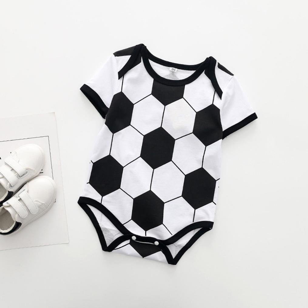 Moonker Romper Infant Toddler Baby Gilrs Boys Short Sleeve Soccer Print Jumpsuit Playsuit Outfits 0-18M