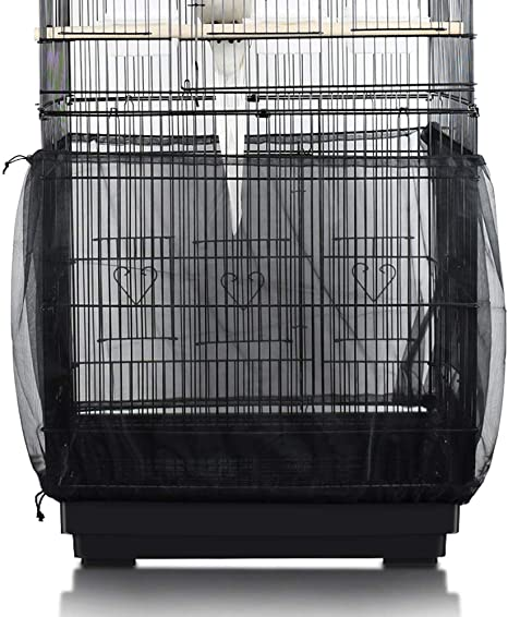 Seed Catcher Guard Mesh Pet Bird Cage Cover Shell Skirt Traps Cage Basket 6A