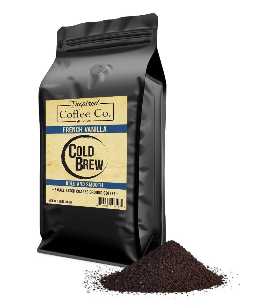 French Vanilla - Flavored Cold Brew Coffee - Inspired Coffee Co. - Coarse Ground Coffee - 12 oz. Resealable Bag