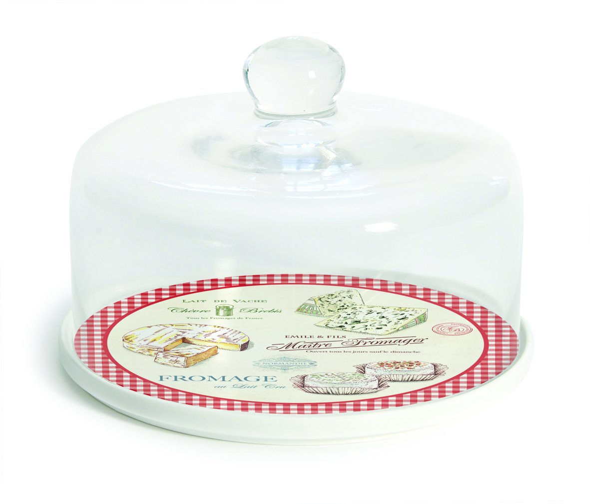 Porcelain Cheese Serving Plate with Glass Dome - Maitre Fromager R2S