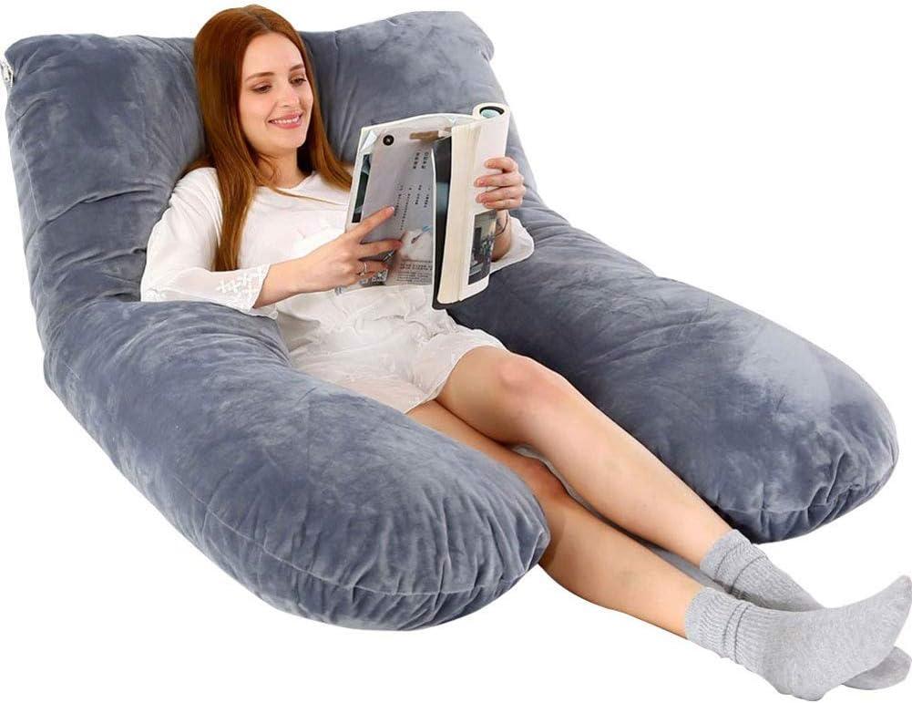 oreiller de soutien de maternit/é Oreiller de corps de grossesse en forme dU oreiller de soutien complet du corps avec rembourrage avec extension d/étachable avec couverture 100/% coton