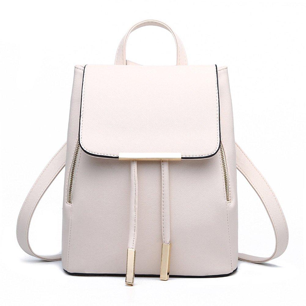 KARRESLY Women's Mini Backpack Purse PU Leather Rucksack Purse Ladies Casual Shoulder Bag School Bag for Girls(Beige)