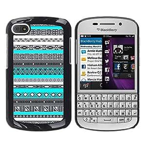 Caucho caso de Shell duro de la cubierta de accesorios de protección BY RAYDREAMMM - BlackBerry Q10 - Indian Pattern Native American Blue