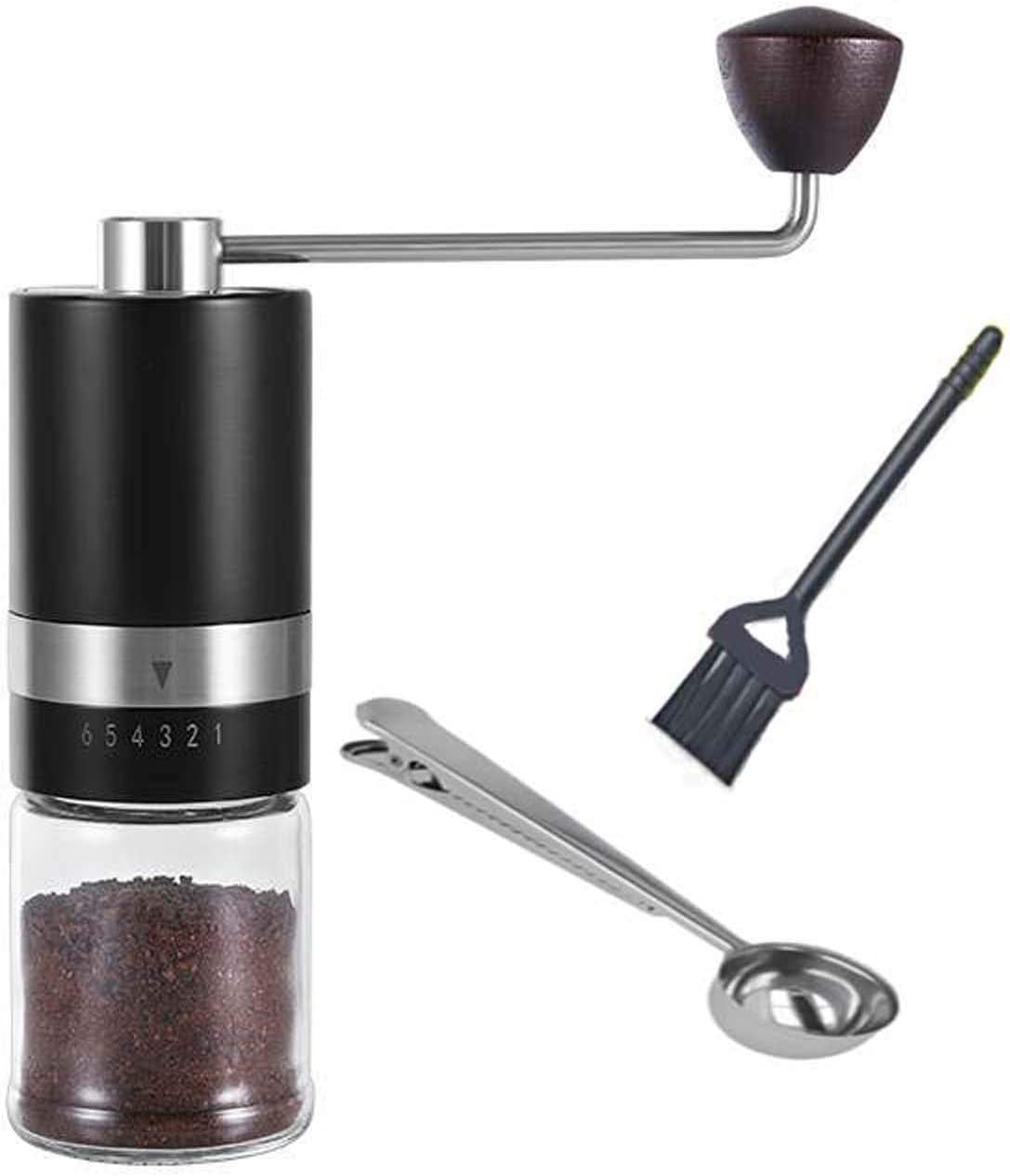 HEIHOX Hand Coffee Grinder with Adjustable Conical Stainless Steel Burr Mill Capacity 30g Portable Mill Faster Grinding Efficiency Espresso to Coarse for Office Camping Home Manual Coffee Grinder