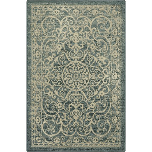 Area Rugs, Maples Rugs [Made in USA][Pelham] 7' x 10' Non Slip Padded Large Rug for Living Room, Bedroom, and Dining Room - Light Spa by Maples Rugs