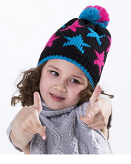 9fb78e2c700 Baby Girls Cute Star Winter Hat with Pom Pom Wool Crochet Knitted Cap  Outdoor Sports Skiing