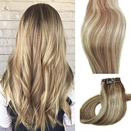 Clip in Hair Extensions Human Hair Brown Clip on for Fine Hair Full Head 7 pieces 15 inch Silky Straight Weft Remy Hair…