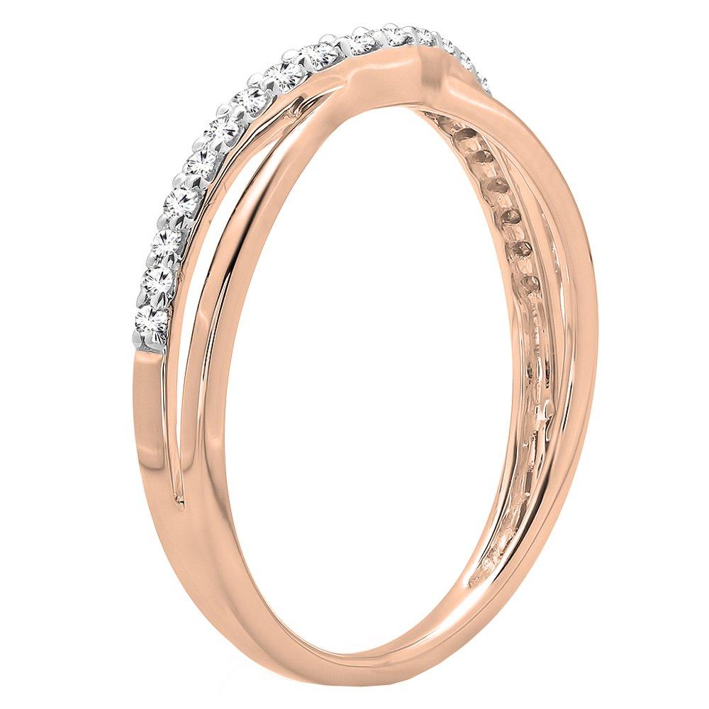 14K Gold Round Cut Diamond Ladies Anniversary Wedding Guard Contour Band 1//4 CT ctw Dazzlingrock Collection 0.25 Carat