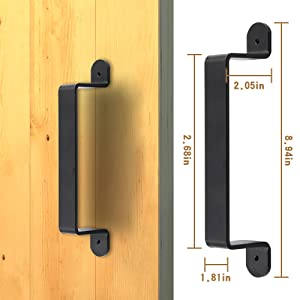 ZEKOO Big Size Black Rustic Garden Gate Shed Pull Door Handle Sliding Barn Door Hardware Kit