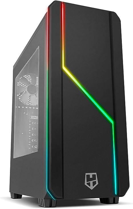 Nox Hummer MC PRO ARGB -NXHUMMERMCPROB- Caja PC, Semi-Torre, tira LED ARGB Rainbow, ventana lateral acrílica, Negro: Amazon.es: Informática