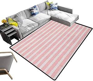 Kids Bedroom Carpet Paint Brushstrokes in Horizontal Direction Pastel Color Pattern for Girls Kids Bedroom Hallway Rug Blush Baby Pink (5'x8')
