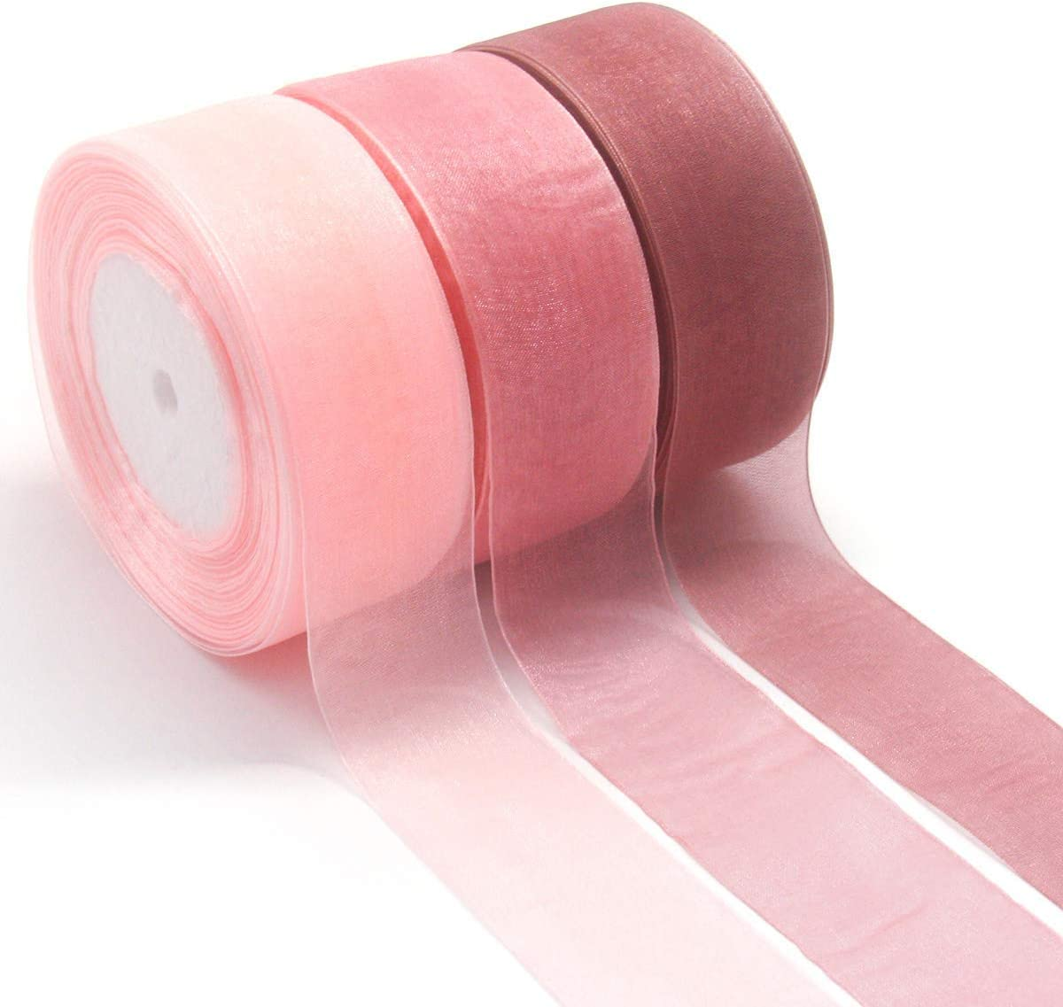 Gshy - Cinta de Seda Pura Rosa Ribbon para Regalo de Boda, Paquete de Regalo de San Valentín, Ramos de Regalo de cumpleaños, Baby Shower, decoración de Tela, 4 cm x 45 m, 3 Unidades