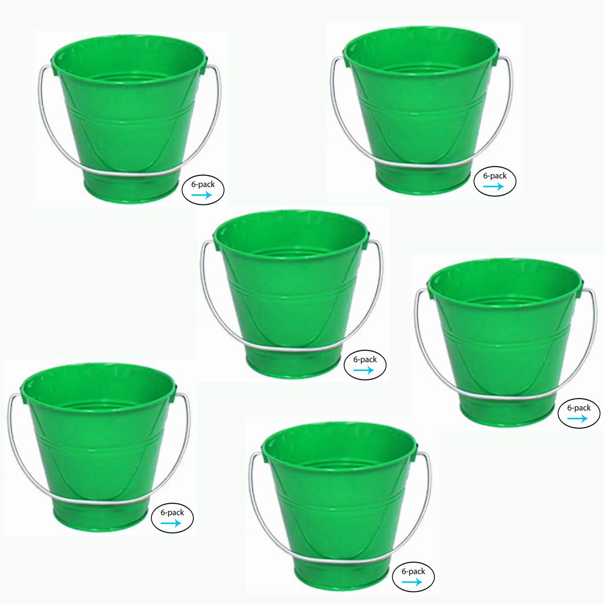 ITALIA 6-Pack Metal Bucket Color Green Size 5.6 X 6