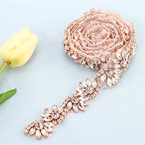 1 yard Bridal Wedding Dress Applique Crystal Rhinestone Belt ,Wedding Sash Bridal Belt,Applique Beaded Decorations Handcrafted Sparkle Hot Fix for Gown Evening Prom Sash Clothes- Rose Gold (rose (Iron Sash)