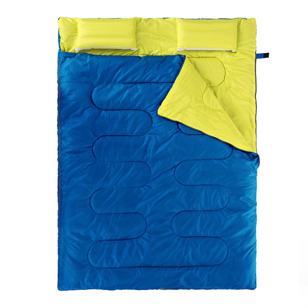 HM&DX Bolsas de Dormir Doble Adultos,Rectangular 4 Estaciones Ultraligero Bolsa de Dormir con Almohada Saco de Compresión Camping Hiker mochilero Viajar ...