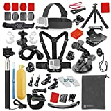 Vanwalk Basic Common Outdoor Sports Kit for GoPro Hero 5 / Session 5/4/3/2/1, Accessory Bundle Set for DBPOWER, Lightdow, SJCAM Action Video Cameras (46 Items)