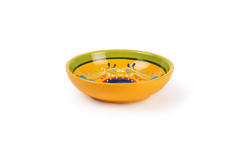 Excelsa Tex-Mex Piatto Aperitivo Ceramica Gialla con Decoro