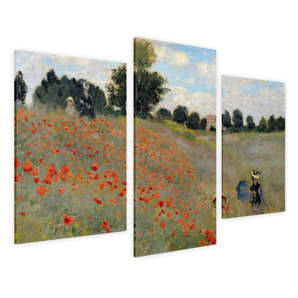 Alonline Art - Wild Poppies Near Argenteuil Claude Monet Framed Stretched Canvas (100% Cotton) Gallery Wrapped - Ready to Hang | 42''x28'' - 107x71cm | 3 Panels Multi Framed Paints Framed Paintings