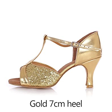 YFF Nach Latin Dance Schuhe mit hohen Absätzen Ballroom Tango Salsa, gold 7 cm Absatz, 4.5