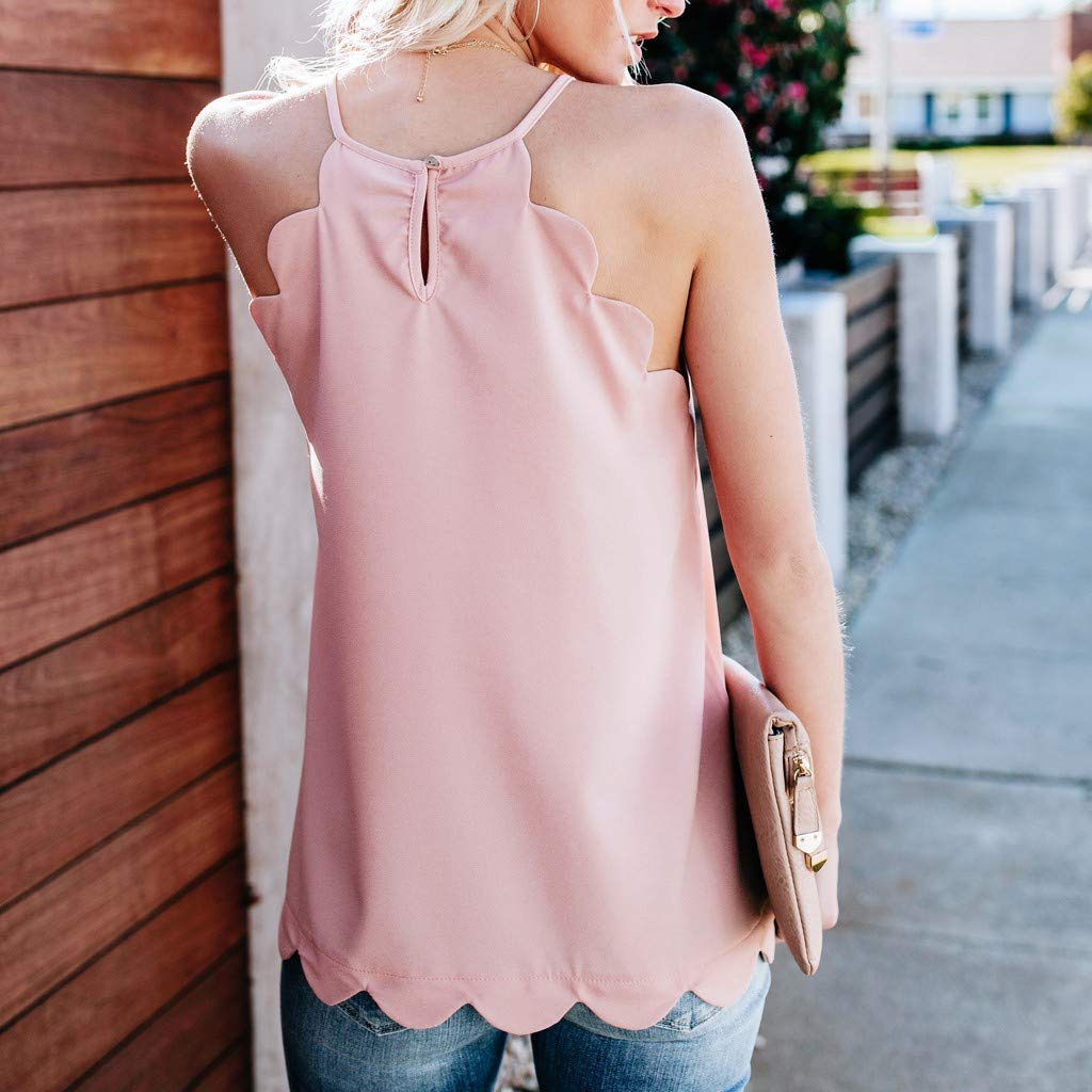 TWGONE Dressy Tank Tops For Women Camisole Plain Strappy Vest Flowy Sleeveless Casual Blouse (XX-Large,Pink) by TWGONE (Image #3)
