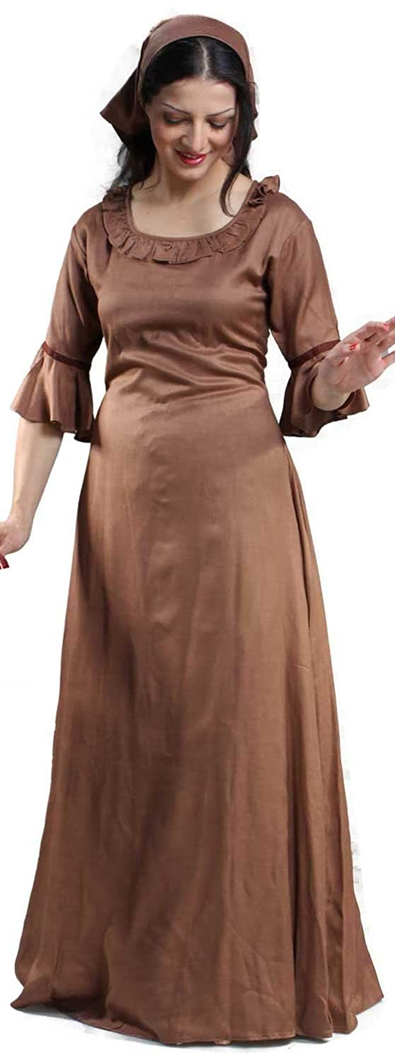 Renaissance Lady Brown Rufffle Chemise - DeluxeAdultCostumes.com