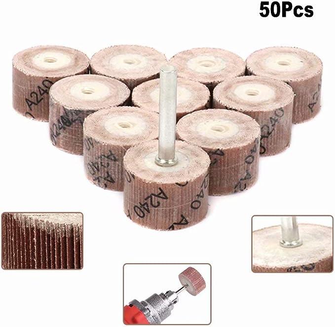 "50Pcs Sanding Sandpaper Flap Wheel Disc Shaft Mounted for Rotary Tool 1//8/"" Shank"