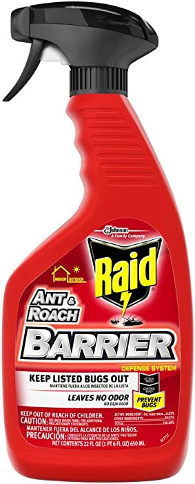 Raid Ant & Roach Barrier Spray, Killer for Listed Bugs, Insect, Spider, For Indoor & Outdoor Use, 22 Fl Oz, Pack of 1