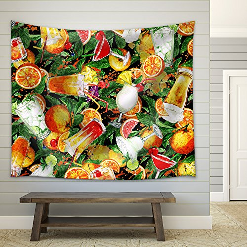 Summer Cocktails Watercolor Seamless Pattern Fabric Wall