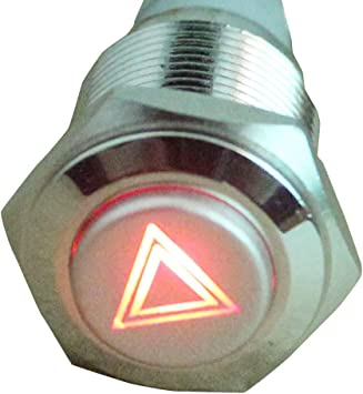 ESUPPORT 12V Car Vehicle Red LED Light Emergency Hazard Warning Push Button Metal Toggle Switch 16mm