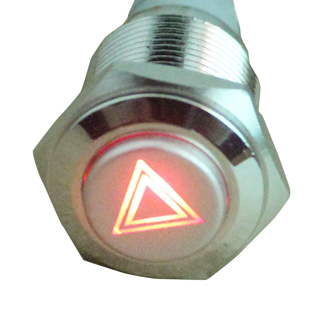 E Support/™ 12V del coche LED rojo s/ímbolo del faro de bot/ón del interruptor de metal 16mm