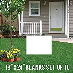 VictoryStore Yard Sign Outdoor Lawn Decorations: Corrugated PlasticWhite Sign Blanks, 18 inch x 24 inch, Set of 10