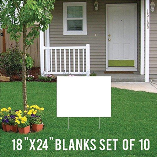 VictoryStore Yard Sign Outdoor Lawn Decorations: Blank Corrugated Plastic White Sign Blanks, 18 inch x 24 inch, Set of 10