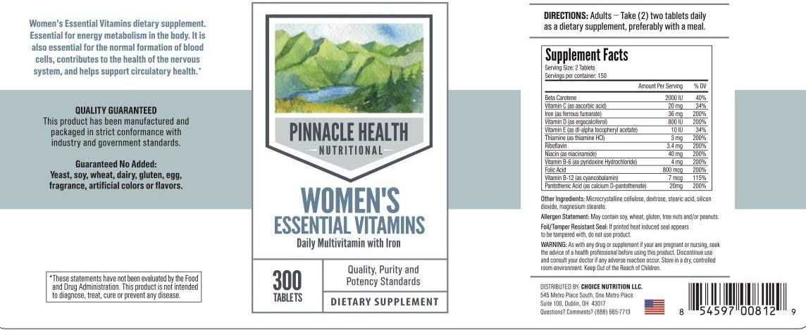 Women's Essential Daily Multivitamin w/Iron - Best Value 300 Count - Essential For Healthy Metabolism, Promotes Nervous System & Circulatory Health - by Pinnacle Health