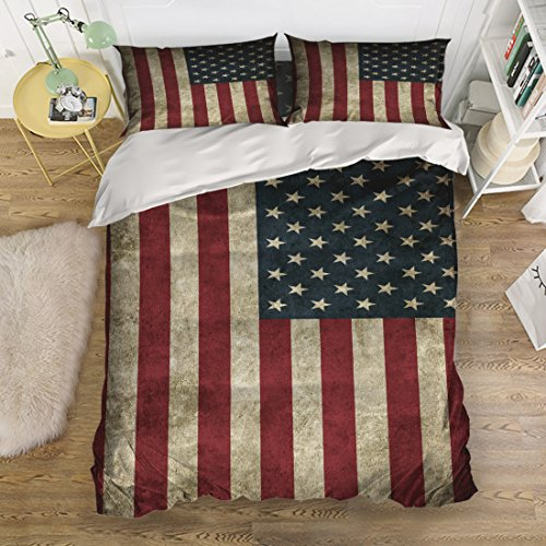 Anzona 4pcs Bedding Set Quilt Bedspread-Vintage USA American