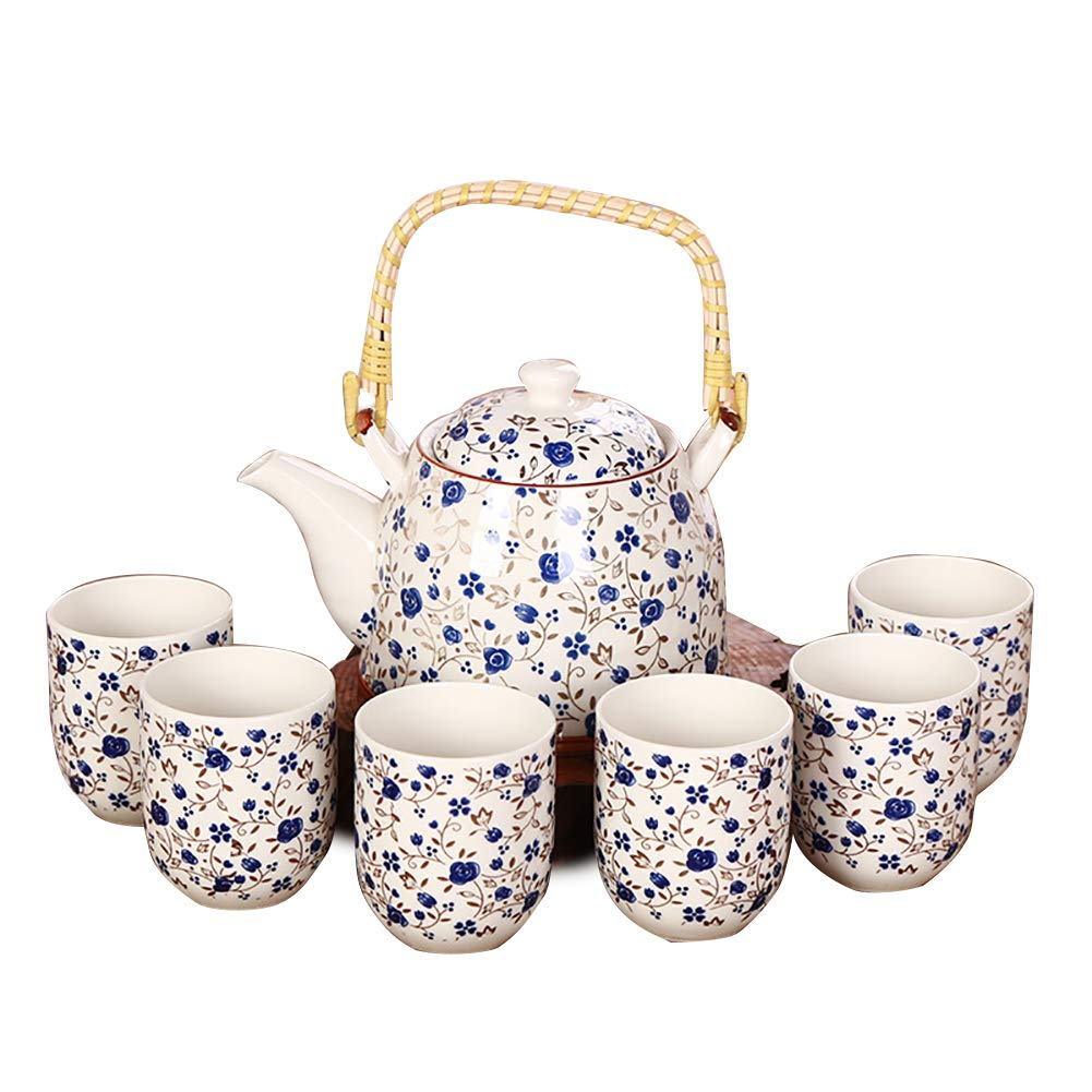 Wudi 1Set Teiera Ceramica con Bamboo Top Handle tè Servizio di tè Tazze e tè Pot Set Eccellente Home Decor (Blue Rose)