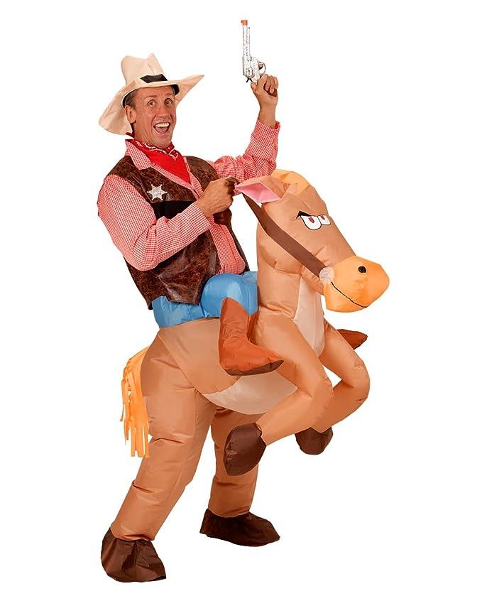 JF deco Víspera de Todos los Santos Adulto Inflable Vaquero Vaquera Paseo Caballo Disfraz Traje de Fiesta (Puerto USB)