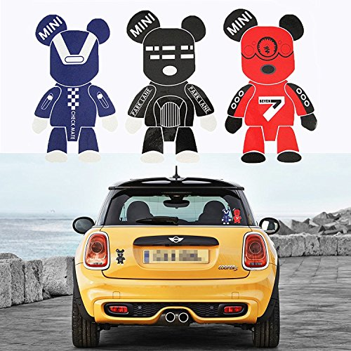 Exclusive Robot (3 Pcs Mini Cooper Cute Cool Gloomy Bears Robot Red Black Blue Exclusive Car Window Reflective Decals Stickers For Car Truck Window Trunk Door or Laptop refrigerator)