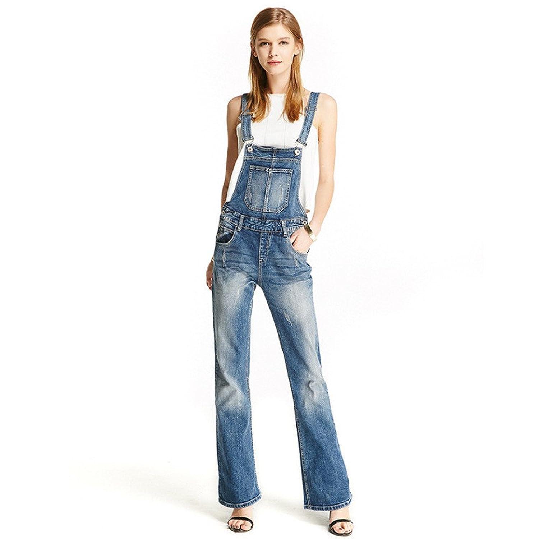 Women Clothing Blue Flares Bib Denim Overalls