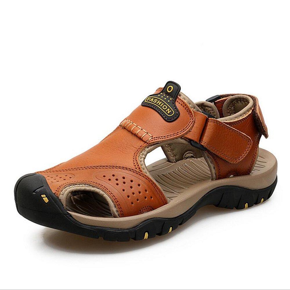 Zapatos de hombre de cuero primavera verano suelas ligeras sandalias confort Zapatos para caminar para exteriores sandalias y zapatillas Baotou al aire libre GAOLIXIA ( Color : Red Brown , tamaño : 45 ) 45|Red Brown