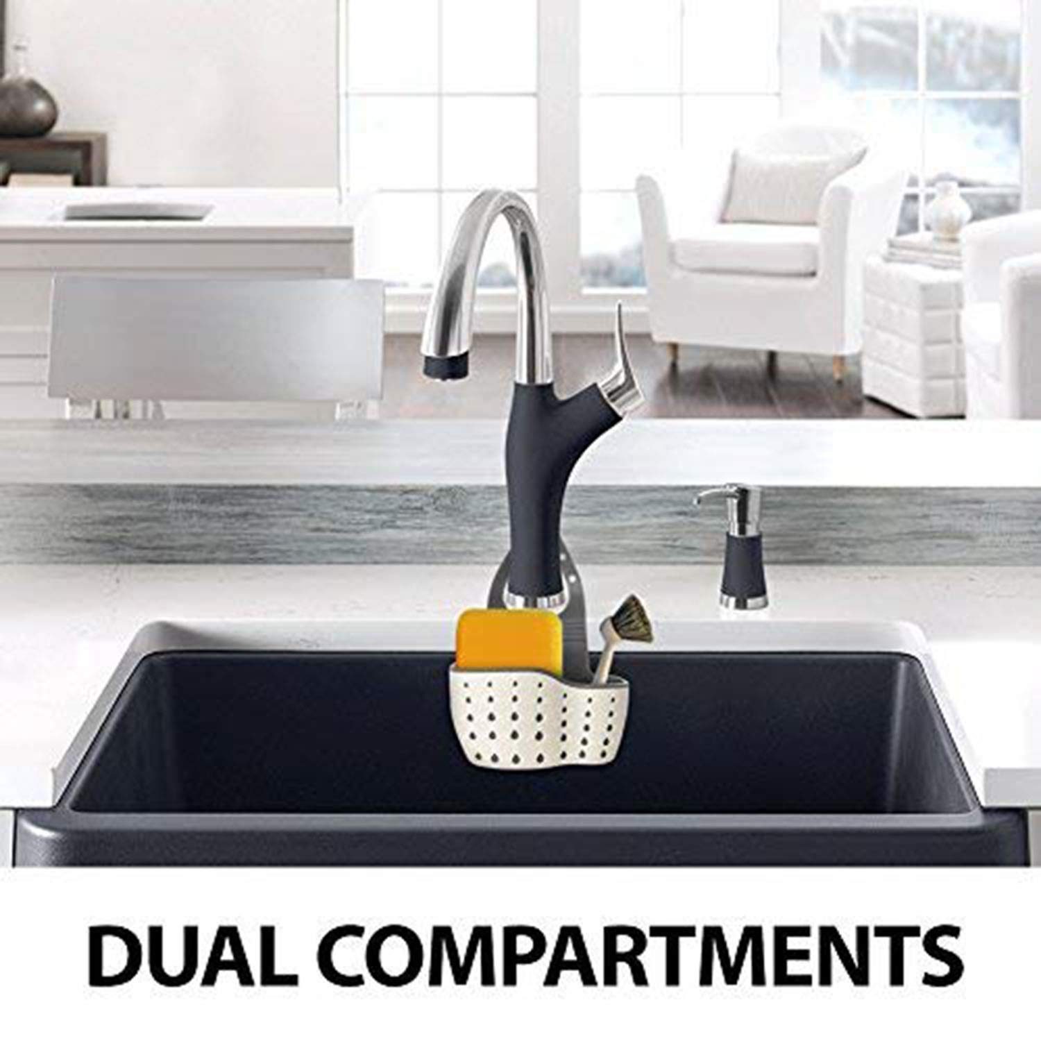 Antimicrobial Drain Holes for Sanitary Drying Beaverve 2PCS Sink Caddy Kitchen Plastic Sink Caddy Sponge Holder Faucet Caddy with Adjustable Strap Silicone Sponge Holder for Kitchen Sink