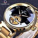 FORSINING Stainless Steel Automatic Skeleton Luminous Men's Watch(Golden)