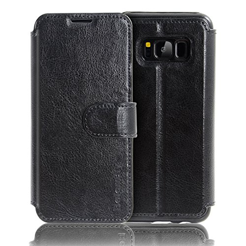 BELEMAY Samsung Galaxy S8 Case, Genuine Cowhide Leather Case Wallet Cover, Flip Book Cases with Magnetic Closure, Stand Function, Credit Card Slots, Money Pouch for Samsung Galaxy S8 – Coffee Brown