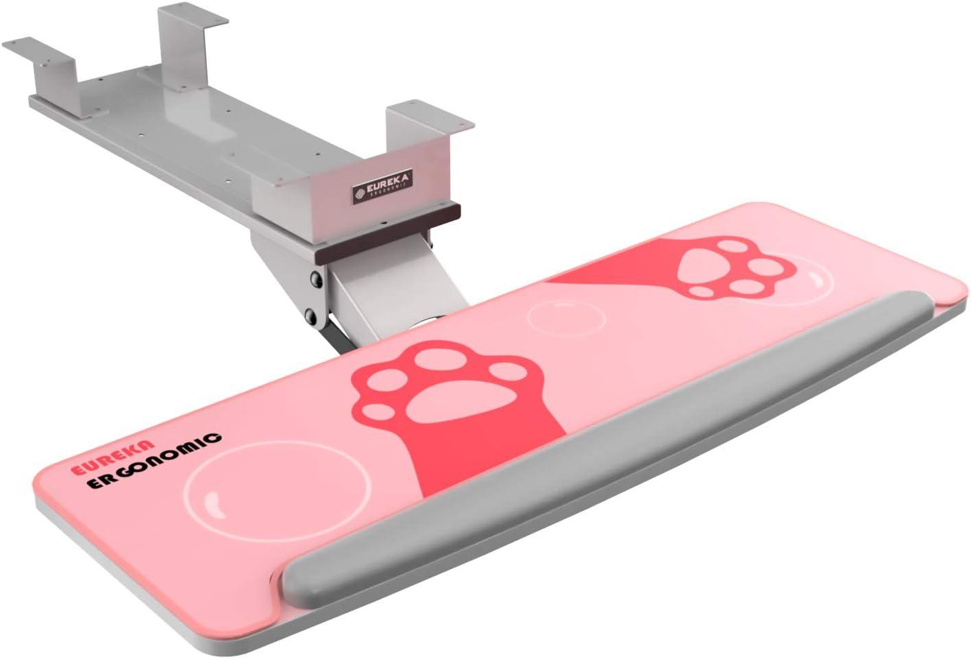 EUREKA ERGONOMIC Adjustable Keyboard Tray Mouse Platform, Under Desk Keyboard Drawer with Free Mouse Pad, Gray