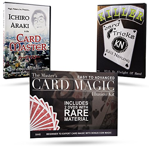 Magic Makers The Master's Card Magic Illusion Kit - 2 DVDs and Bonus Coin Magic by Magic Makers