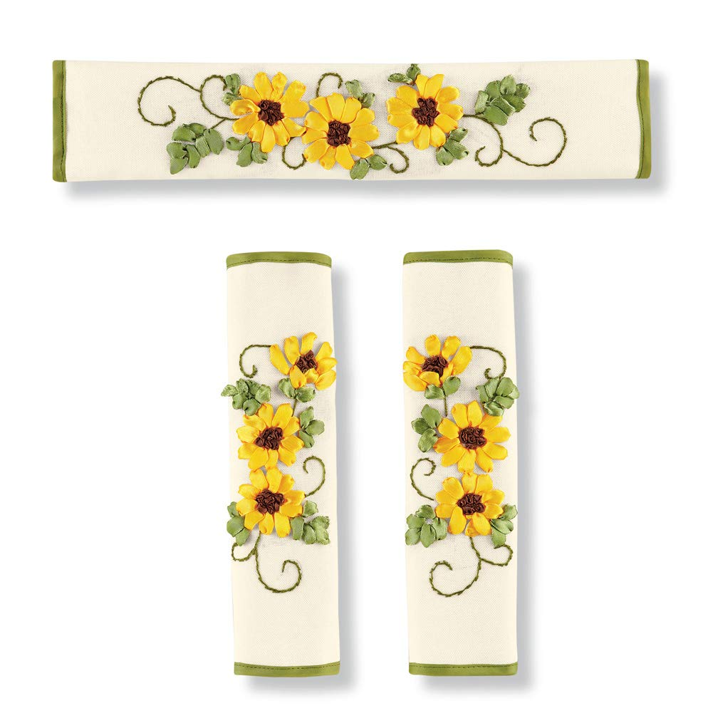 Blooming Yellow Ribbon Sunflower Appliance Handle Covers with Scrolling Vines and Green Trim - Set of 3