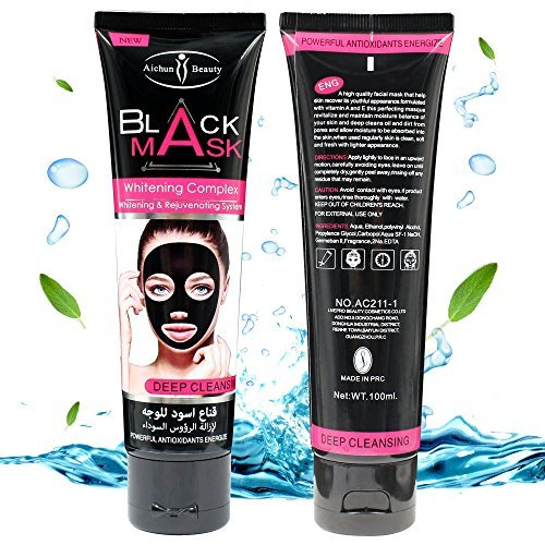 Black Mask Peel off Mask with Brush,Charcoal Blackhead Remover - Deep Cleansing, Pore Shrinking, Acne & Oil Control, Anti Aging Facial Cleaner Mask 80g